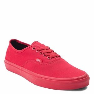 All Red Authentic Style Vans Shoes - Men's Size 8